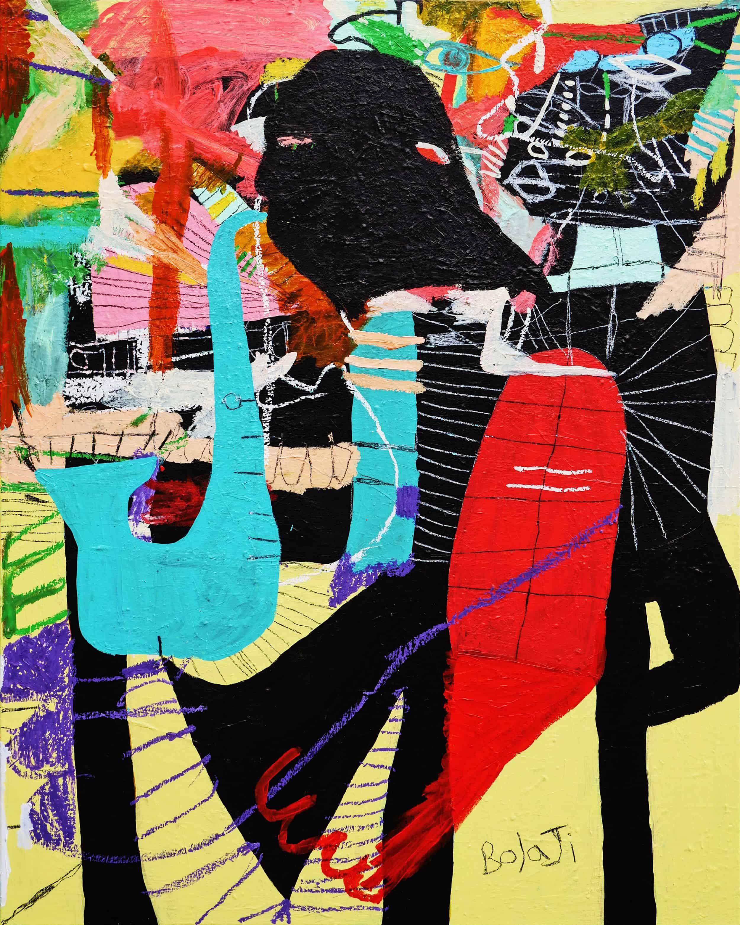 Saint Coltrane (2020), acrylic, crayon, spray paint aand oil pastel on cotton canvas, 124x154cm